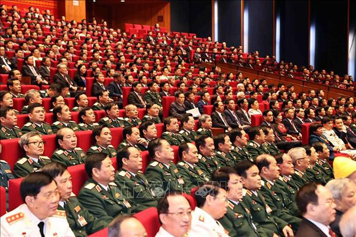 Đoàn đại biểu Đảng bộ Quân đội dự phiên khai mạc Đại hội. (Ảnh: TTXVN)