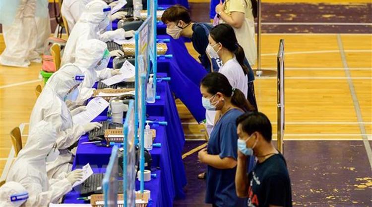 Một điểm xét nghiệm COVID-19 tại Bangkok, Thái Lan. (Ảnh: AFP/TTXVN)